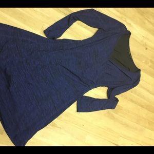 Prana blue black warm cozy flattering dress, M